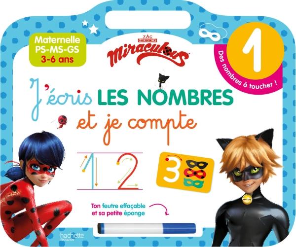 Ardoise Miraculous  J'écris les nombres et je compte (3-6 ans)